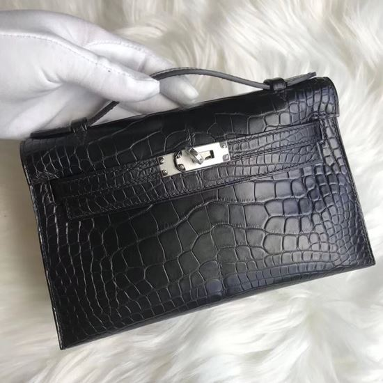 Picture of Hermes Mini Kelly Matte Crocodile leather Clutch Bag Black Silver