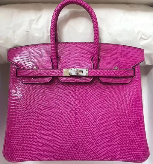 Picture of Hermes 25cm Lizard Leather Violet Silver