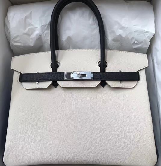 Picture of Hermes 30cm Epsom Leather Tote Bag White with black handles Silver