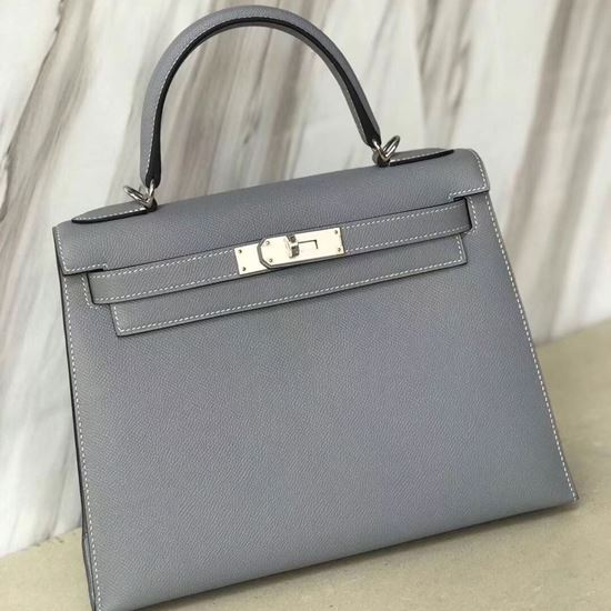 Picture of Hermes Kelly 28cm Epsom Leather Tote Bag Pigeon Blue Gold