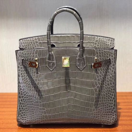 Picture of Hermes 25cm Crocodile Leather Brown Grey with Gold