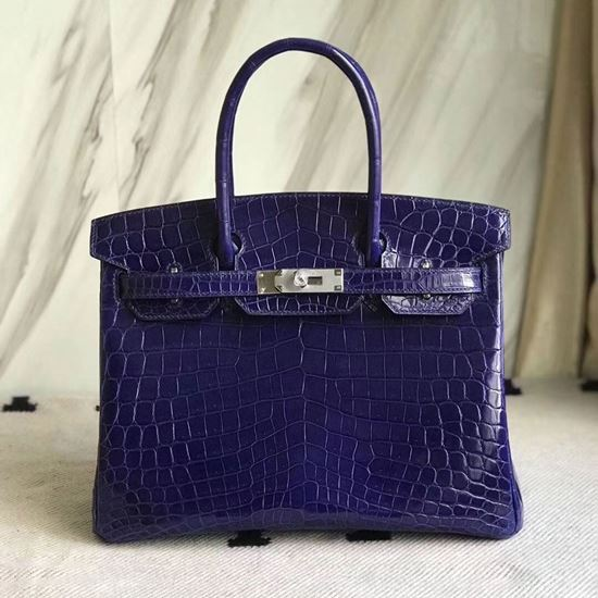 Picture of Hermes 30cm Crocodile Leather Deep Bule with silver