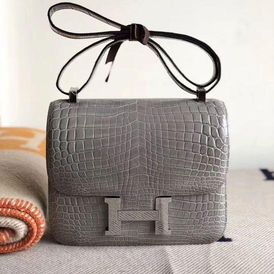 Picture of Hermes Constance 18cm Shoulder Bag Grey Silver