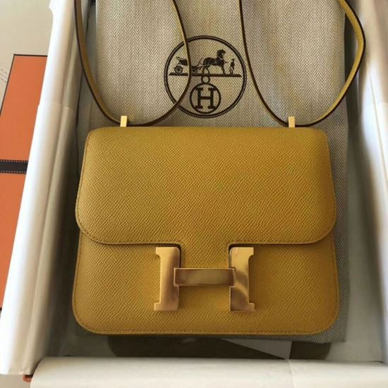 Picture of Hermes Constance 23cm Shoulder Bag Honey Yellow