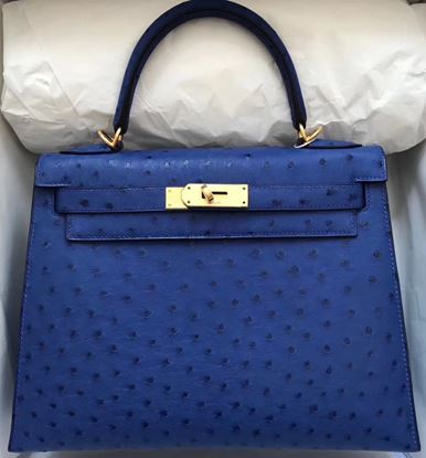 Picture of Hermes Kelly 28cm Ostrich Leather Tote Bag Electric Blue Gold