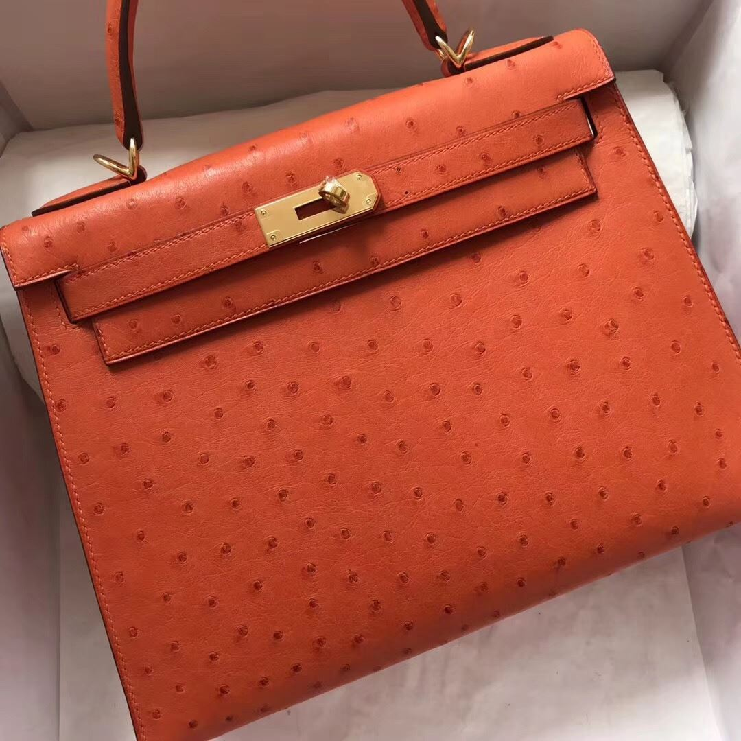 d2d16000c7 Picture of Hermes Kelly 28cm Ostrich Leather Tote Bag Orange Gold