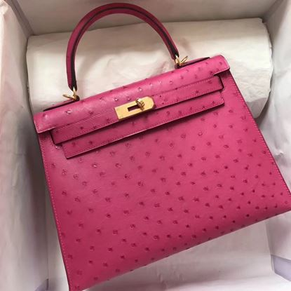 Picture of Hermes Kelly 28cm Ostrich Leather Tote Bag Pink Gold