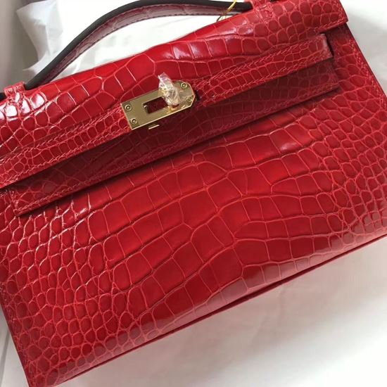 Picture of Hermes Mini Kelly Crocodile leather Clutch Bag  Red Gold (Silver)