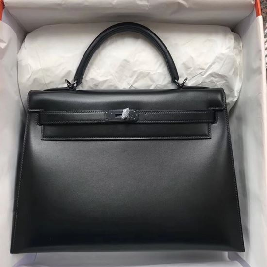 Picture of Hermes Mini Kelly TOGO leather Clutch Bag Black Silver