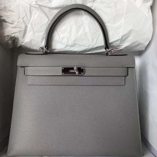 Picture of Hermes Kelly 25cm Epsom Leather Tote Bag Pigeon Grey Silver