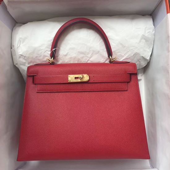 Picture of Hermes Kelly 28cm Epsom Leather Tote Bag Red Gold