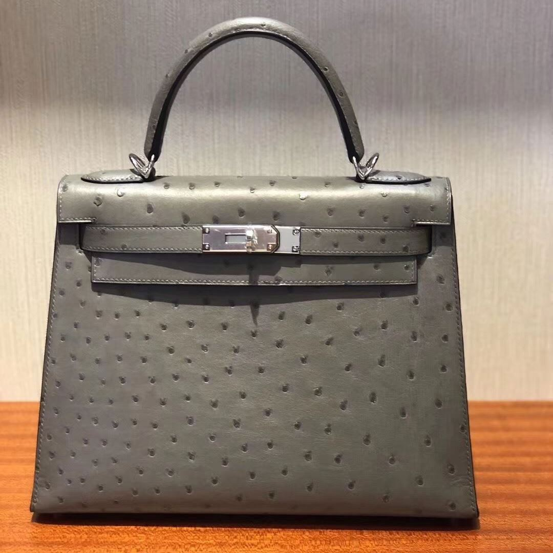 Picture of Hermes Kelly 28cm Ostrich Leather Tote Bag Grey Silver a8c5a22f8a26f