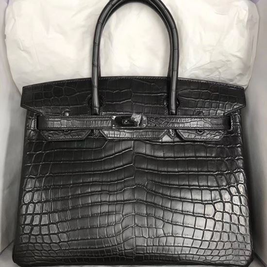 Picture of Hermes 30cm Matte Crocodile Leather Black with Silver