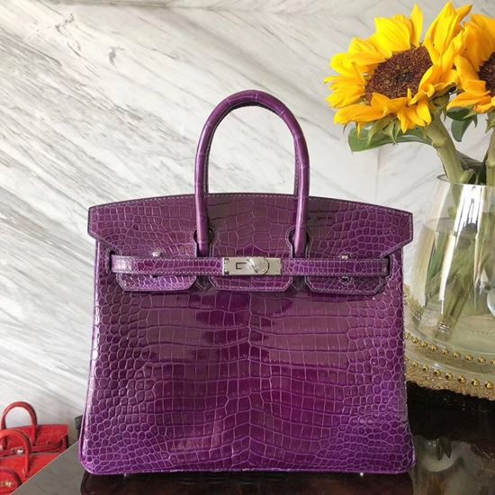 Picture of Hermes 25cm Crocodile Leather Violet Silver