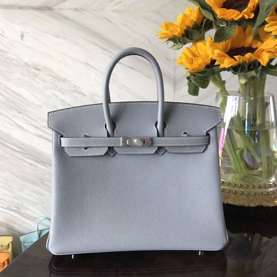 Picture of Hermes 25cm Epsom Leather Single Blue with Silver