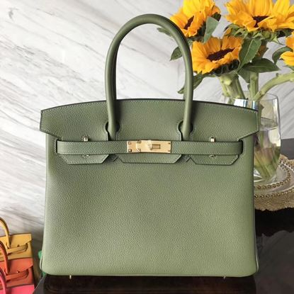 Picture of Hermes 30cm Togo Leather Turquoise Olive Green with Gold