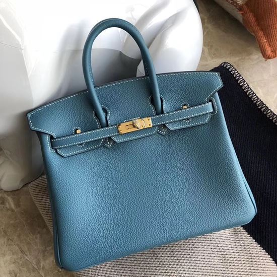 Picture of Hermes 25cm Togo Leather Cow Blue with Gold