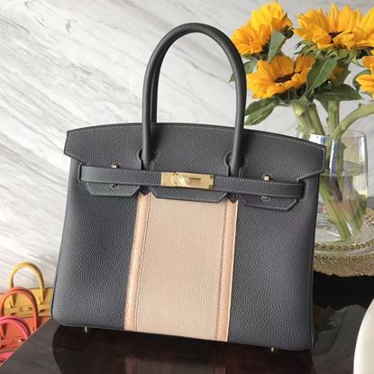 Picture of Hermes 30cm Togo Leather Pink&Grey with Gold