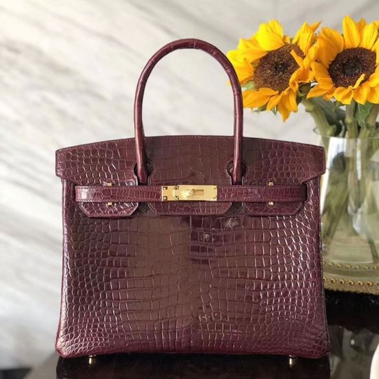 Picture of Hermes 30cm Crocodile Leather Deep Red with Gold