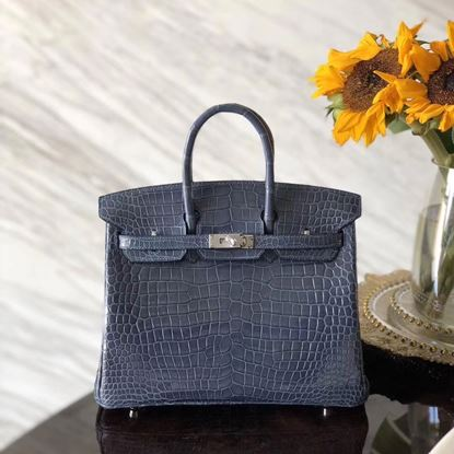 fd7a5a3fe267 Hermes 25cm Crocodile Leather Grey Blue Silver