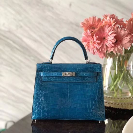Picture of Hermes Kelly 25cm Crocodile leather Tote Bag Distant Blue Silver