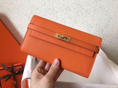 Picture of Hermes Kelly Wallet Epsom Leather Orange