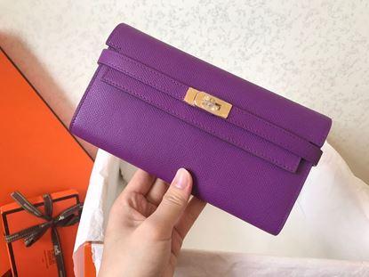 Picture of Hermes Kelly Wallet Epsom Leather  Purple Violet