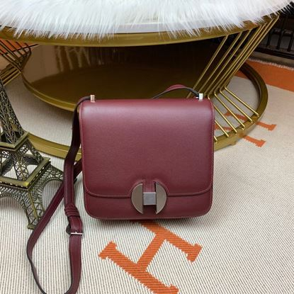 Picture of Hermes Constance 24cm Shoulder Bag Wine Red  with Gold/Silver