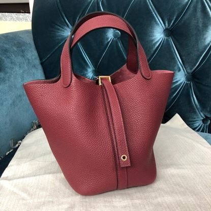 Picture of Hermes Picotin Lock 18cm/22cm Calfskin Leather Handbag Vermilion Red Gold/Silver