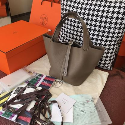 Picture of Hermes Picotin Lock 18cm/22cm Calfskin Leather Brown Grey with Gold/Silver