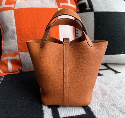 Picture of Hermes Picotin Lock 18cm/22cm Calfskin Leather Orange with Gold/Silver