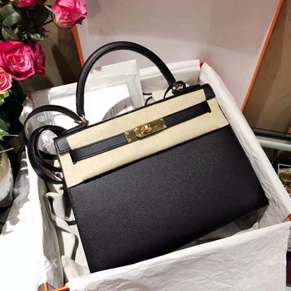 Picture of Hermes Kelly 25cm/28cm/32cm Epsom Leather Tote Bag Black with Gold/Silver Buckle