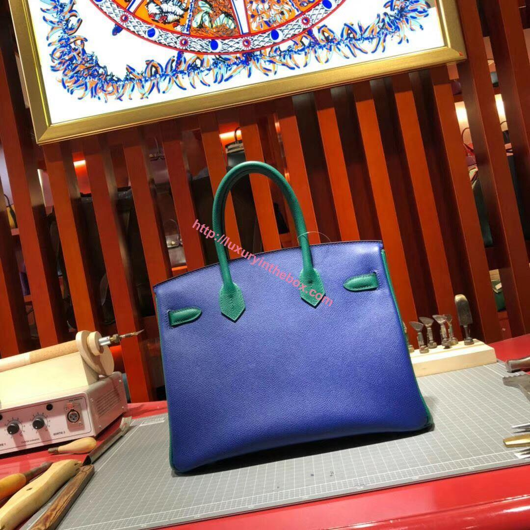 Picture of Hermes Birkin 30cm Epsom Leather Tote Bag Blue Gold