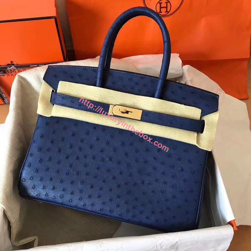 Picture of Hermes Birkin 30Cm Ostrich Stripe Tote Bag Raven Gold