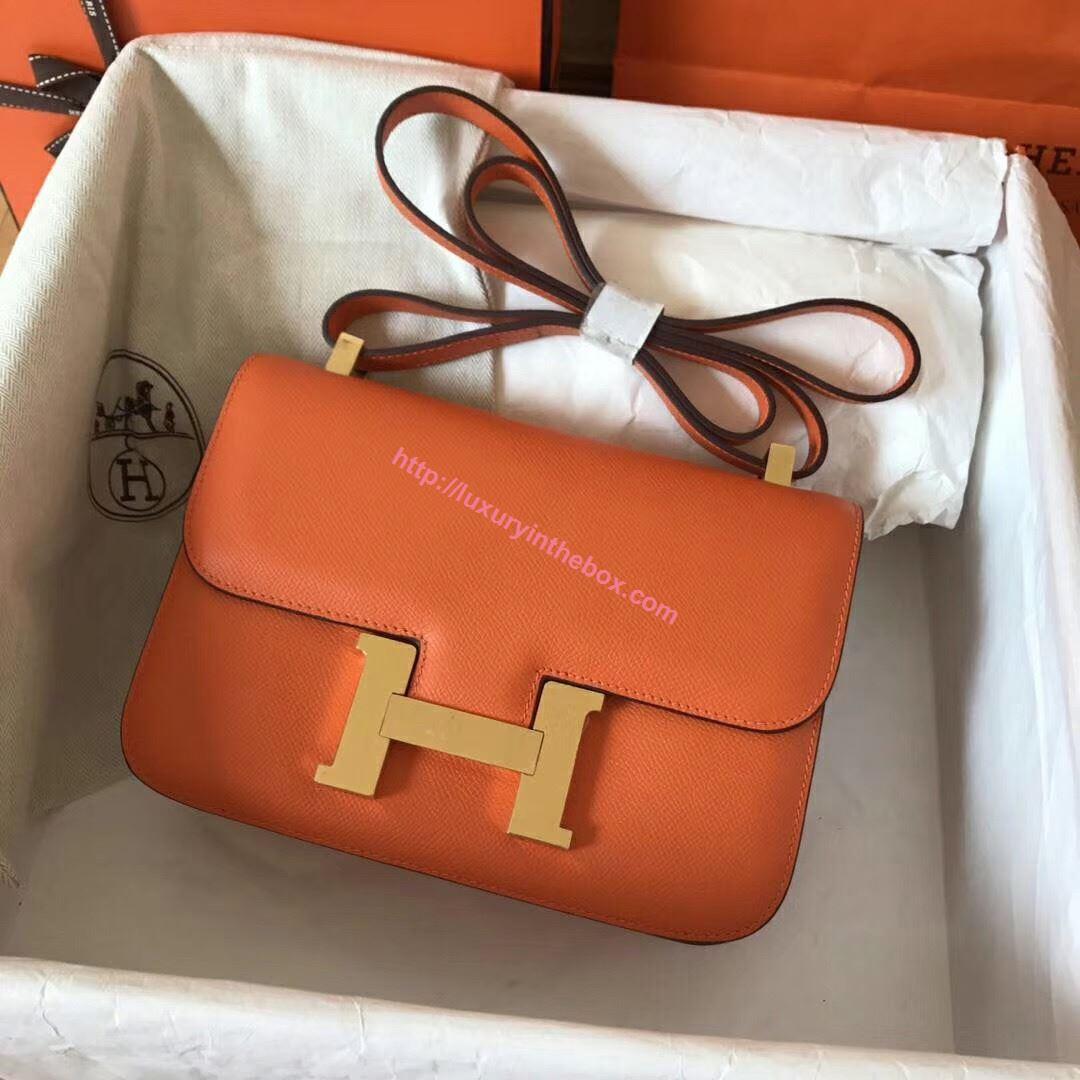 Picture of Hermes Constance 23cm Shoulder Bag Orange Gold
