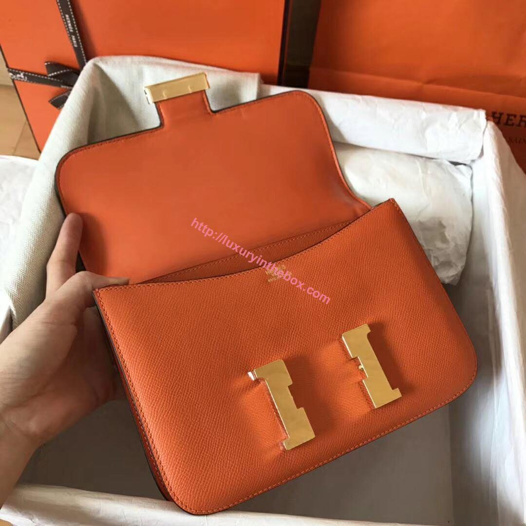 Picture of Hermes Constance 23cm Shoulder Bag Orange Gold