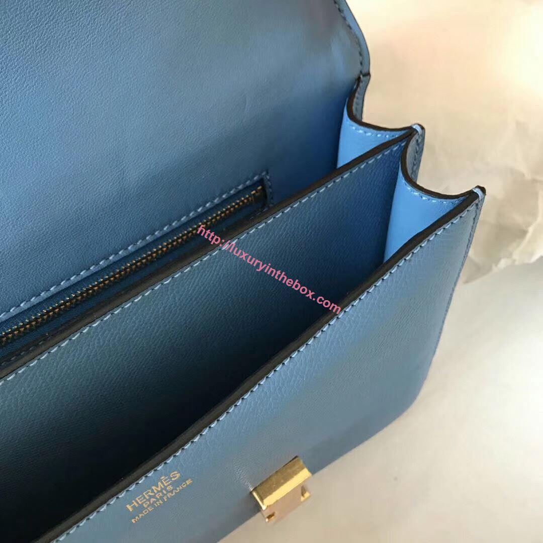 Picture of Hermes Constance 23cm Shoulder Bag Blue Gold