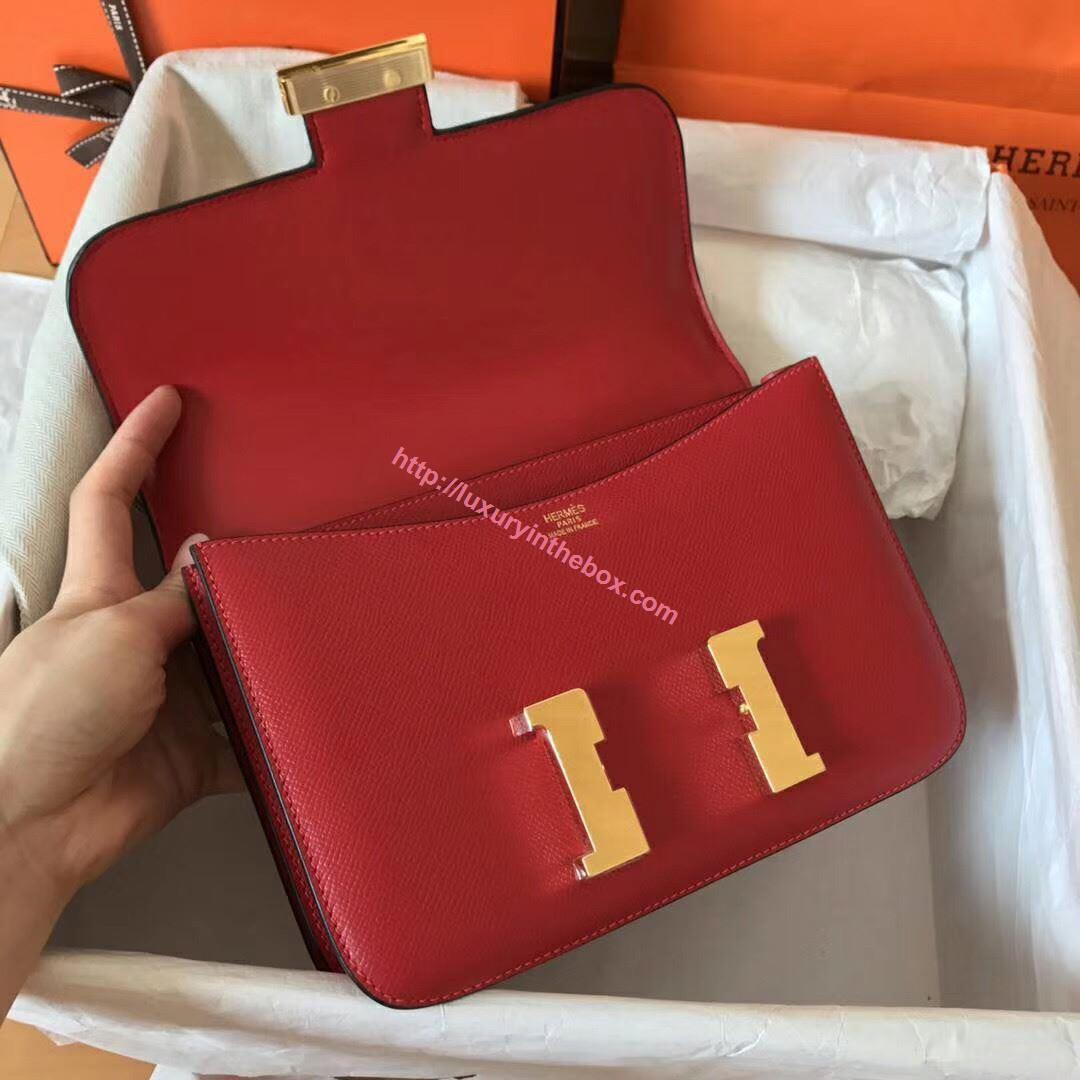 Picture of Hermes Constance 23cm Shoulder Bag Red Gold