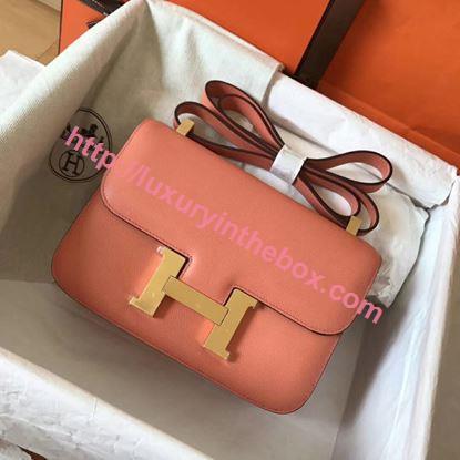 Picture of Hermes Constance 23cm Shoulder Bag Light Pink Gold