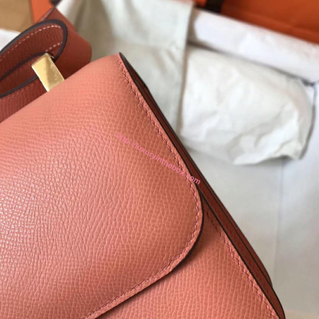 Picture of Hermes Constance 23cm Shoulder Bag Light Pink Gold