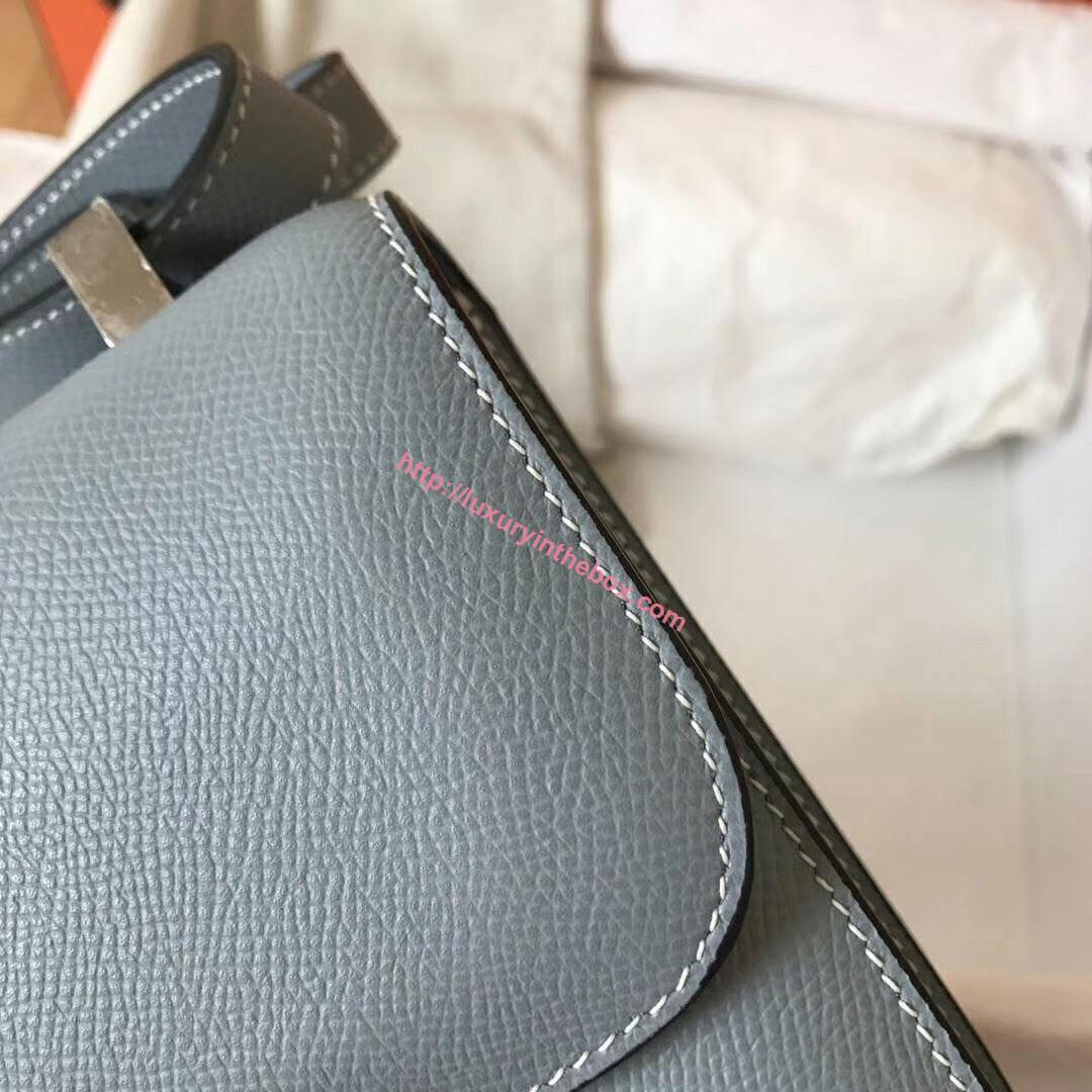 Picture of Hermes Constance 23cm Shoulder Bag Grey Blue Silver
