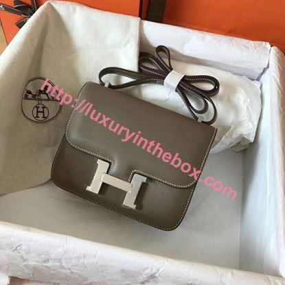 Picture of Hermes Constance 19cm Shoulder Mouse Grey Silver