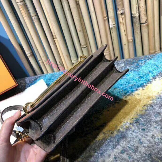 Picture of Hermes Roulis 18cm Calf Leather Shoulder Bag Grey Brown Gold