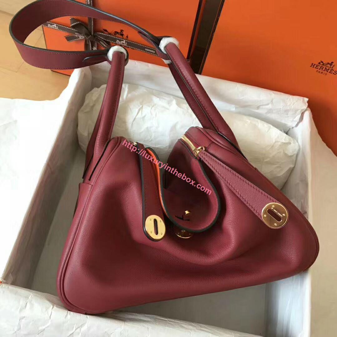 Picture of Hermes Lindy 30cm Swift Leather HandBag Bordeaux Gold