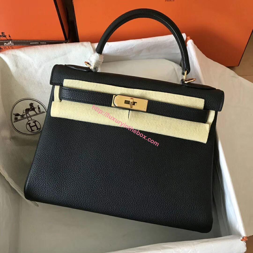 Picture of Hermes Kelly 28cm Toga Leather Tote Bag  Black Gold