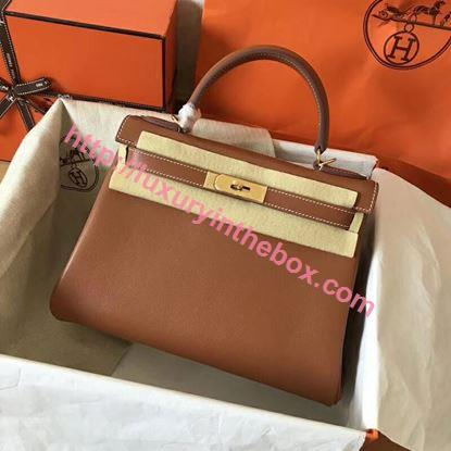 Picture of Hermes Kelly 28cm  Swift Leather Tote Bag Orange Brown Gold