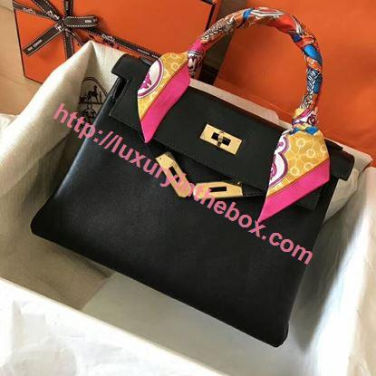 Picture of Hermes Kelly 28cm Swift Leather Tote Bag Black Gold