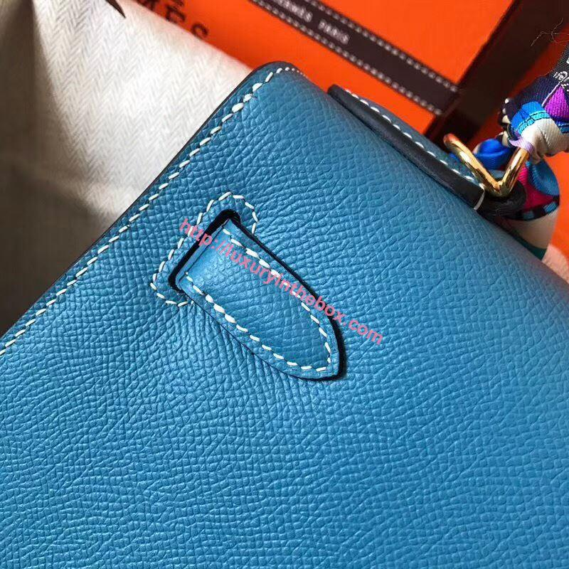 Picture of Hermes Kelly 28cm Epsom Leather Tote Bag Blue Gold