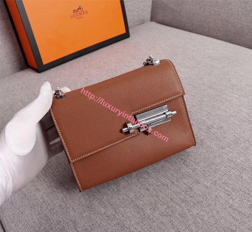 Picture of Hermes Verrous 17cm Goat Leather Pochette Chain Bag Brown Silver