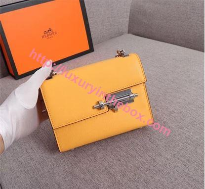 Picture of Hermes Verrous 17cm Goat Leather Pochette Chain Bag Melon Yellow Silver